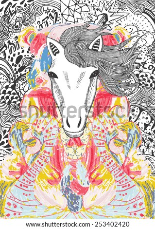 psychedelic horse illustration - stock vector
