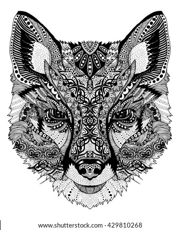 psychedelic linear illustration wild fox - stock vector