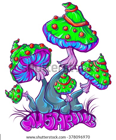 psychedelic mushrooms - stock vector