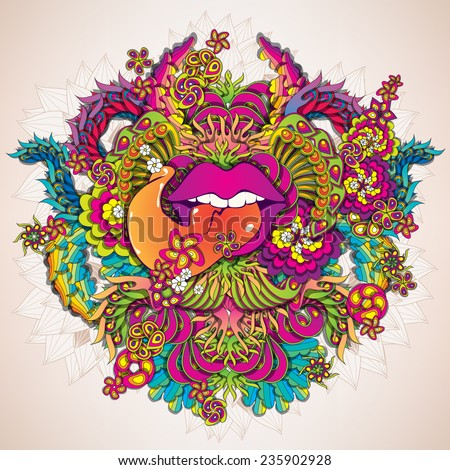 Psychedelic music with lips illustration - stock vector