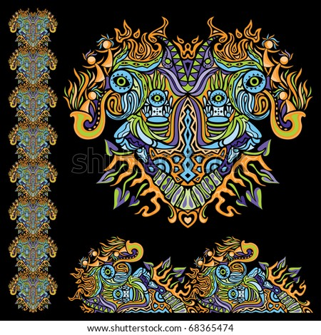 Psychedelic ornament element - stock vector