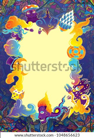 Psychedelic Party Flyer Background Music Festival Poster Kids Doodle Cartoon Wallpaper