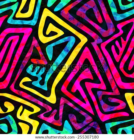 psychedelic seamless pattern with grunge effect  - stock vector