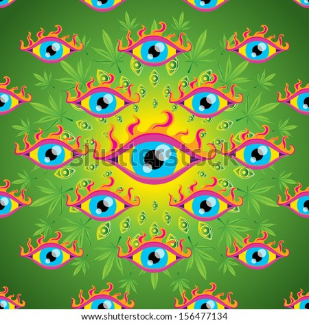 Psychedelic trippy marijuana eyes seamless pattern vector illustration - stock vector