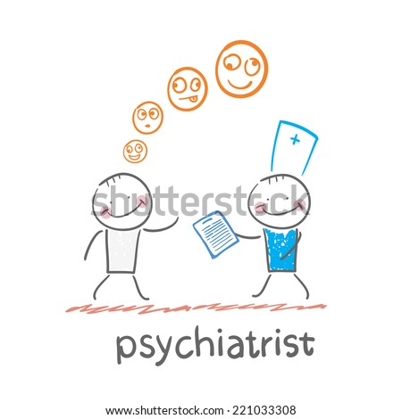 psychiatrist says a patient's illness - stock vector