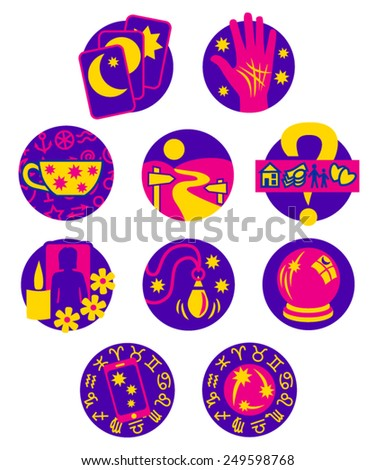 Psychic Fortune Teller icons - pink and purple