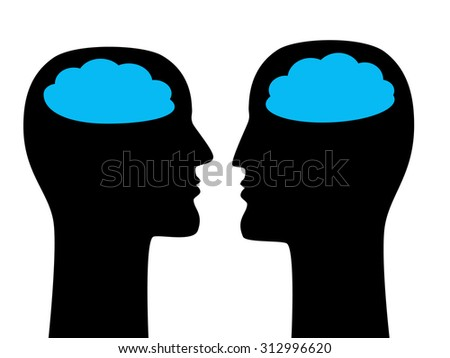 Psychoanalysis, dialog and communication concept with faces silhouettes and clouds. vector illustration. - stock vector