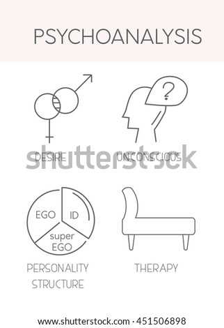 Psychoanalysis. Linear vector icons. The couch, the treatment of the soul, the ego, the unconscious and personality structure - stock vector