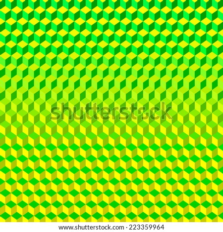 Psychodelic Abstract 3D Background Green Yellow from Cubes - stock vector