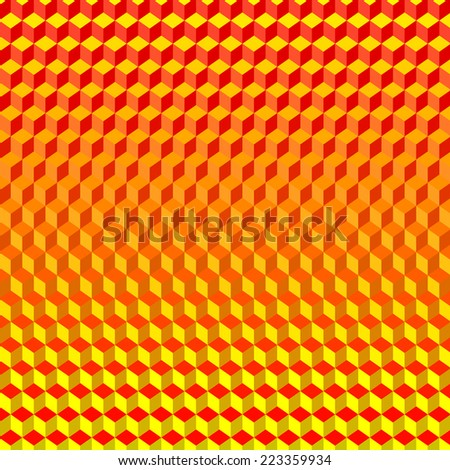 Psychodelic Abstract 3D Red Yellow Background from Cubes - stock vector