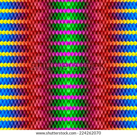 Psychodelic Abstract 3D Seamless Background from Cubes - stock vector