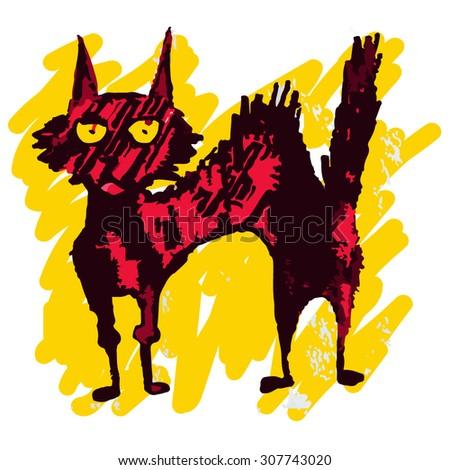 Psychodelic grunge cat - stock vector