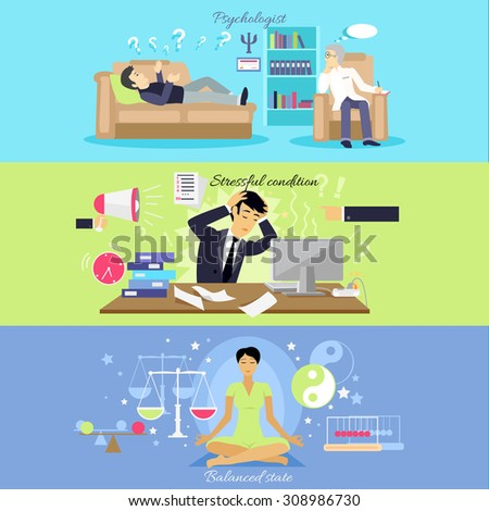 Psychological human mental balance. Psychologist and stressfull condition state, mental emotion, psychology health, personality disorder, stress and depression feeling illustration - stock vector