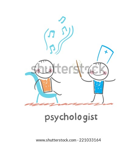psychologist conducts a patient tells notes - stock vector