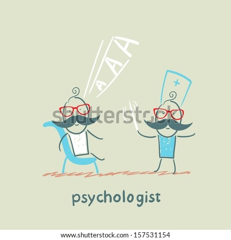psychologist conducts a stick, and the patient screams - stock vector