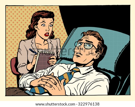 psychologist female patient male sympathy family relationships emotions mental problems pop art retro style - stock vector