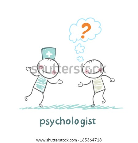 Psychologist talking to a patient who thinks of a question mark - stock vector