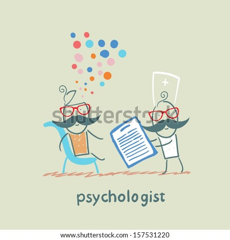 psychologist with a folder, and the patient's head exploded - stock vector