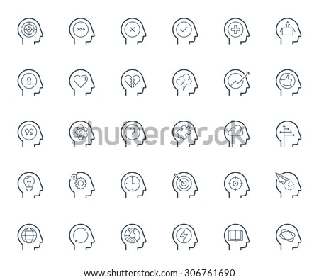 Psychology, brain activity and head related concepts thin line icon set - stock vector