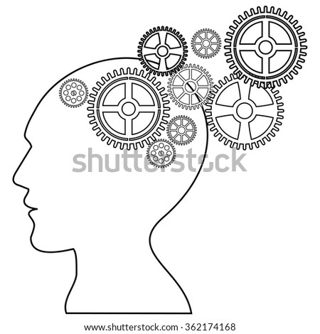Psychology. Head with gears