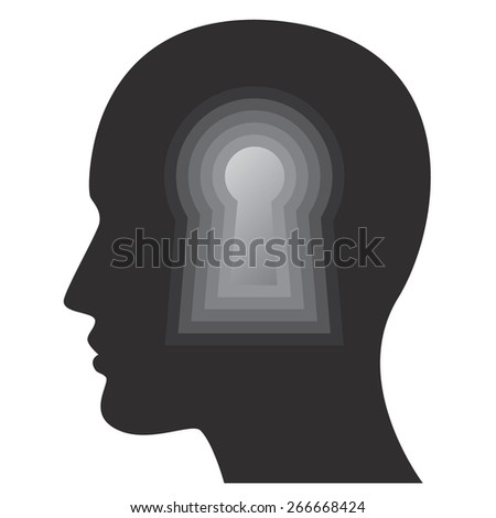 Psychology, human mind, thoughts and intelligence concept with man face and key hole, vectors. - stock vector