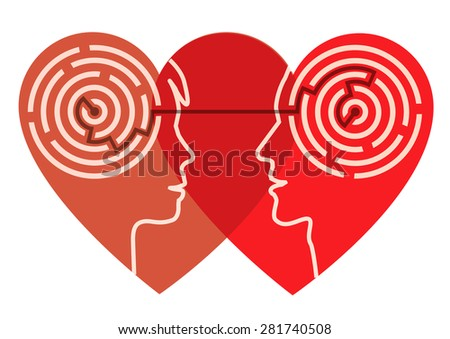 Psychology of love. Two male head silhouettes in the heart shape with maze symbolizing psychological processes of understanding. Vector illustration.  - stock vector