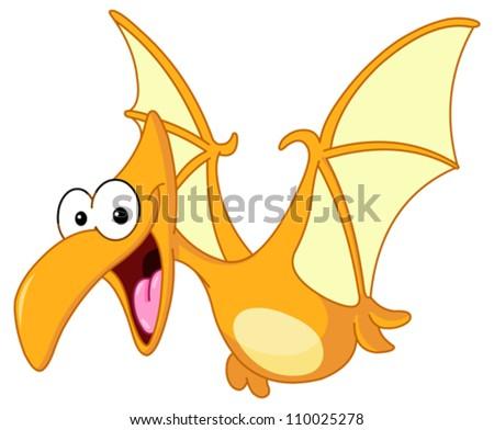 Pterodactyl dinosaur flying - stock vector