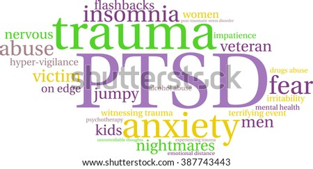 PTSD Word Cloud on a white background.