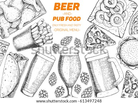 pub food frame vector illustration beer meat french fries fast food and