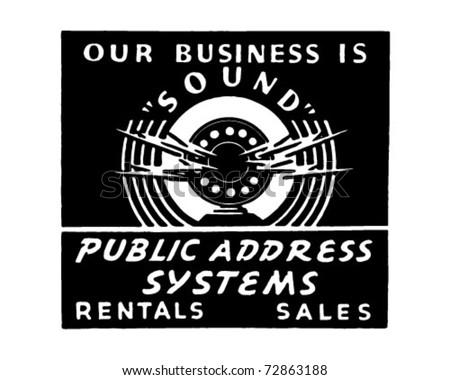 Public Address System - Retro Ad Art Banner - stock vector