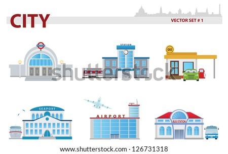 Public building. Set 1 - stock vector