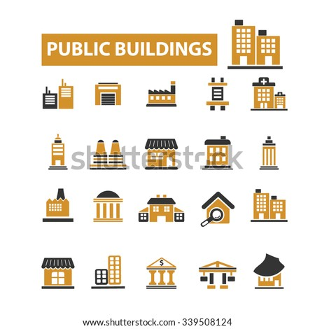 public buildings, houses  icons, signs vector concept set for infographics, mobile, website, application  - stock vector