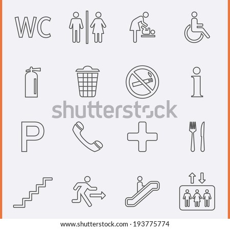 Public Icons in thin line style - stock vector