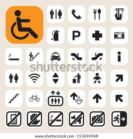 Public icons set.Illustration EPS10 - stock vector