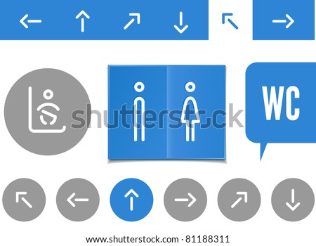 public lavatory signs - arrows, man and women restrooms and changing baby place - stock vector