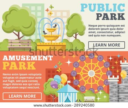 Public park, amusement park flat illustration concepts set. Flat design concepts for web banners, web sites, printed materials, infographics. Creative vector illustration - stock vector