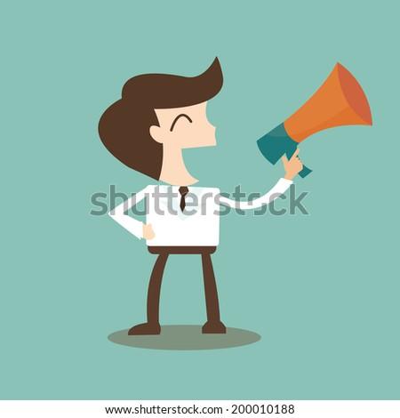 public relations - businessman talking through a bullhorn  - stock vector