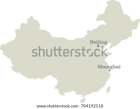 China Country Map Outline Graphic Vector Stock Vector 520273618