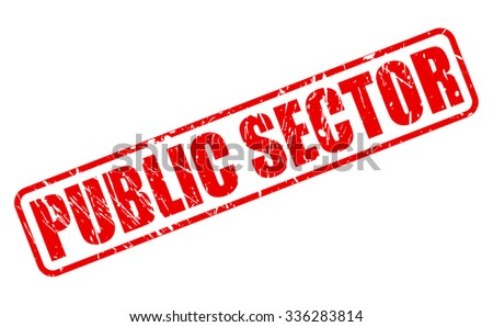 PUBLIC SECTOR red stamp text on white - stock vector