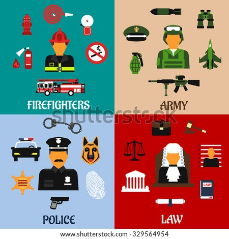 Public service and military professions flat icons of firefighter with tools, army soldier with equipment, judge in courtroom and police officer in uniform - stock vector