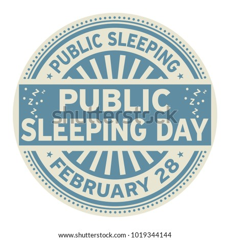 Public Sleeping Day, February 28, rubber stamp, vector Illustration
