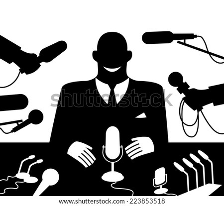 Public Speaker at conference meeting. Eps8 Organized by layers Two global colors Gradients free - stock vector
