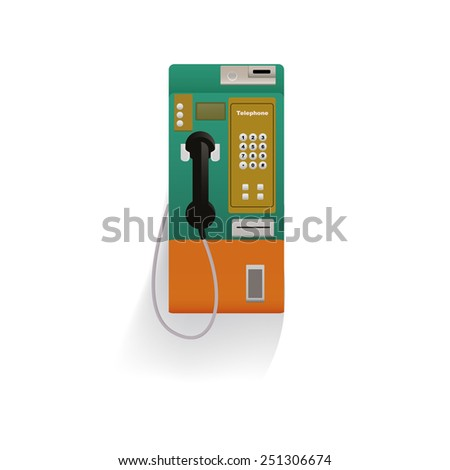 Public telephone white background - stock vector
