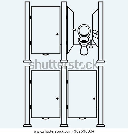 Public Toilet. Isolated on blue background. Vector silhouettes - stock vector