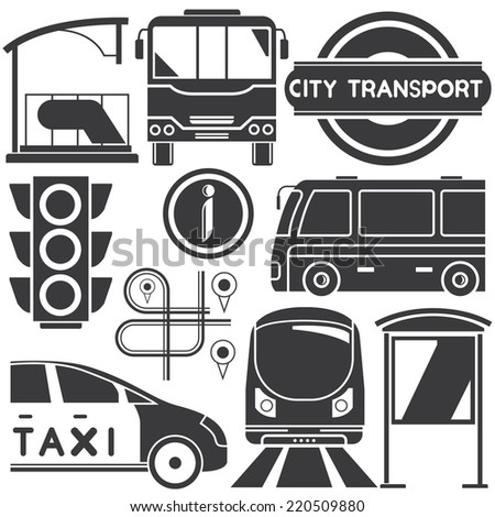 public transport, city transportation set, urban city and traffic concept - stock vector