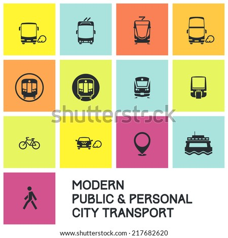Public transport icon set: modern city / suburban route transit icons. Bus, trolleybus, tram/LRT, rapid, commuter, monorail, ferry, taxicab, bike, pedestrian icon. For maps, apps, infographics.   - stock vector