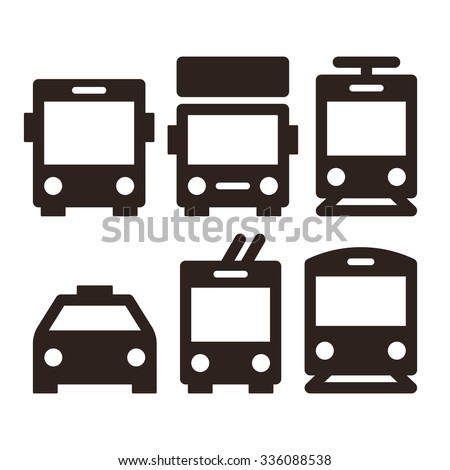 Public transport icons - bus, truck, streetcar, taxi, trolley bus and train - stock vector