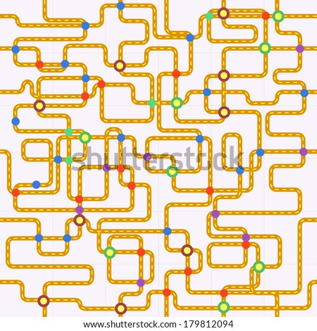 public transport or tube map (fictional), seamless pattern, vector