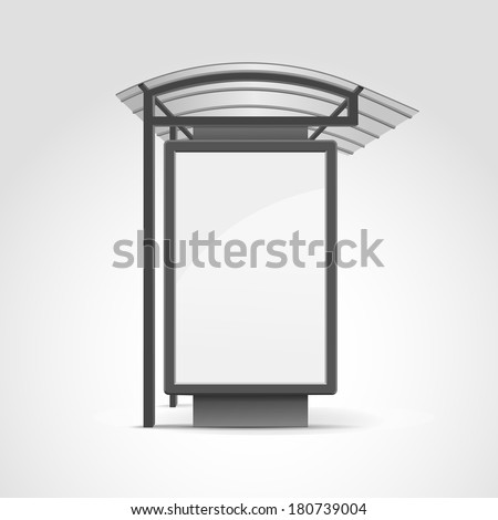 Public Transport Stop with Billboard and Place for Message - stock vector