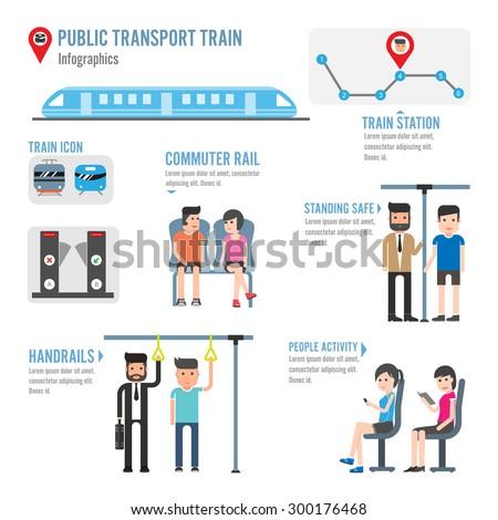 Public transport train infographics - stock vector